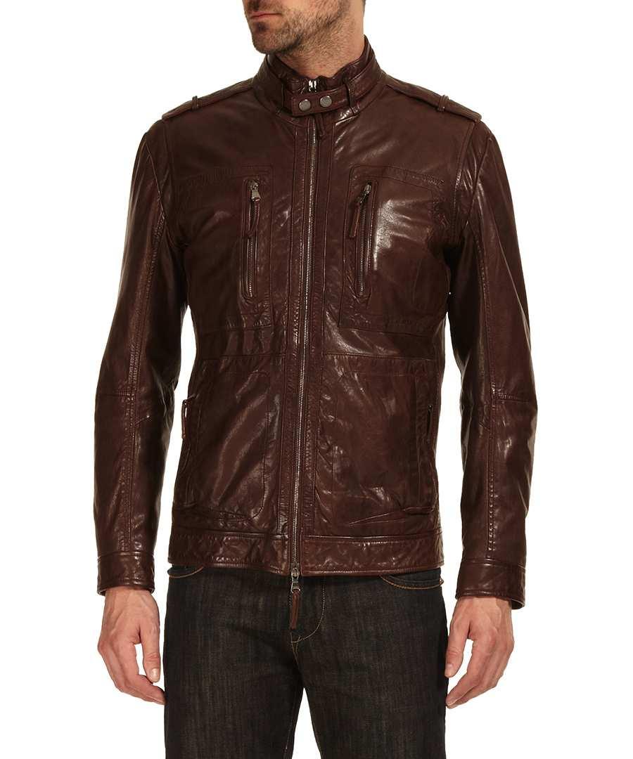Boss leather jacket sale