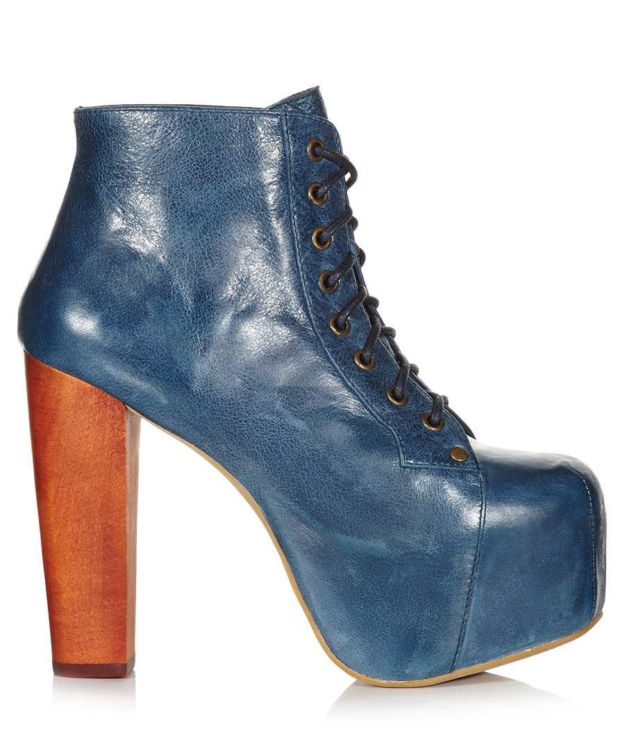 jeffrey campbell lita blue leather ankle boots designer footwear sale outlet secretsales. Black Bedroom Furniture Sets. Home Design Ideas