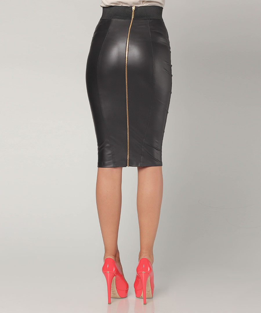 black faux leather pencil skirt designer