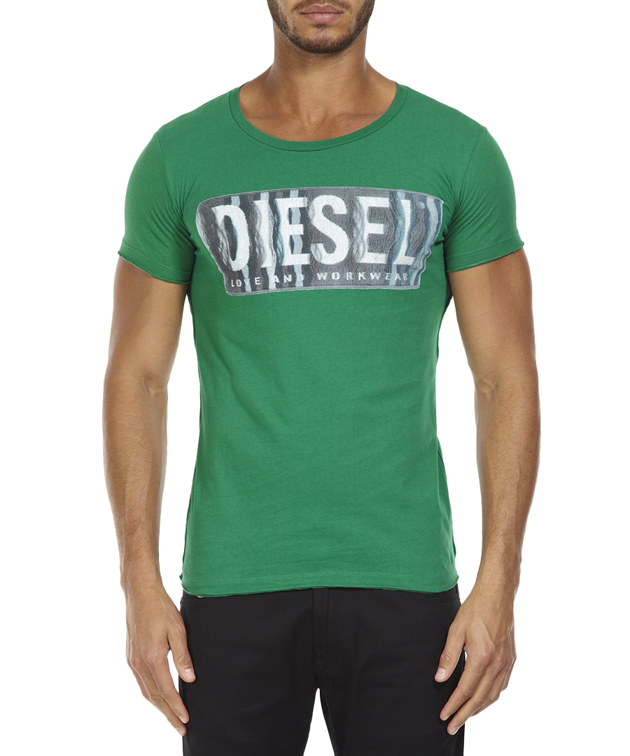 Diesel green cotton diesel print t shirt designer topwear for Diesel tee shirts sale