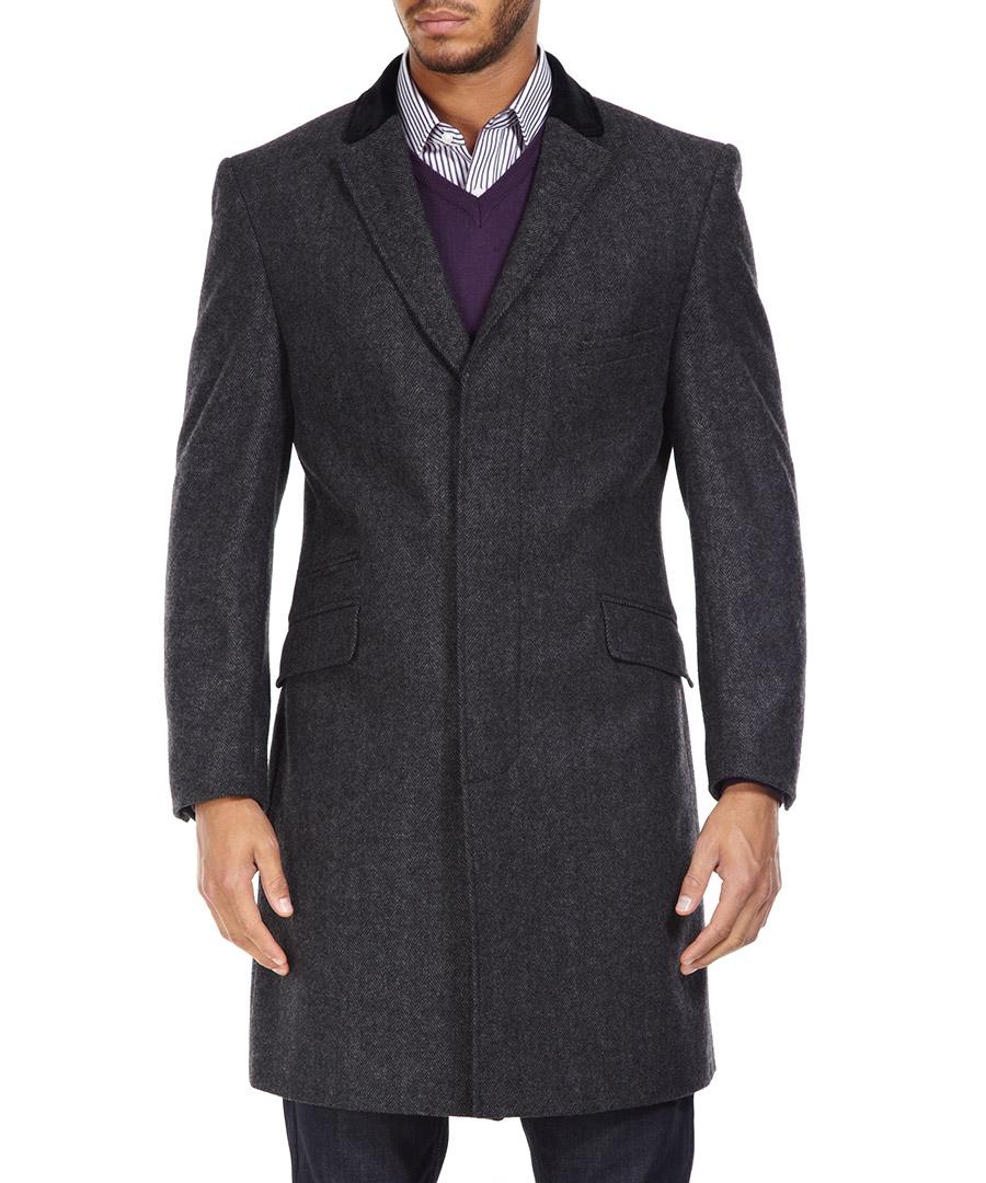 ben sherman charcoal herringbone crombie coat designer jackets sale new season coats secretsales. Black Bedroom Furniture Sets. Home Design Ideas