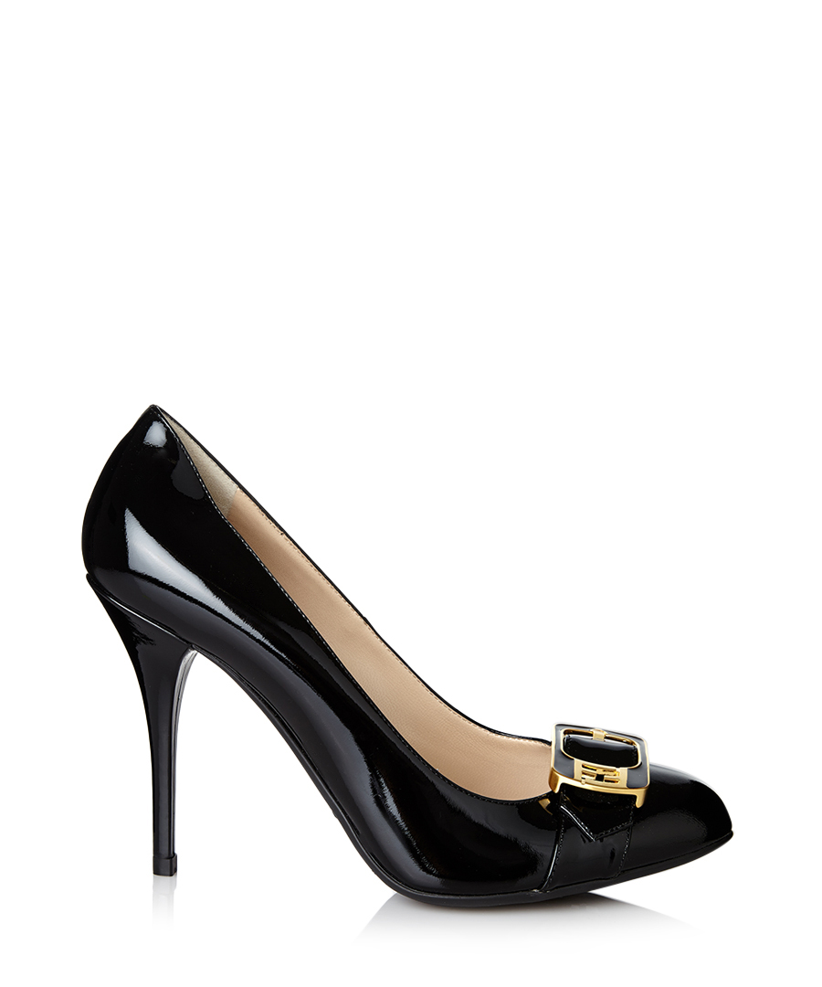 fendi black leather buckle high heels designer footwear