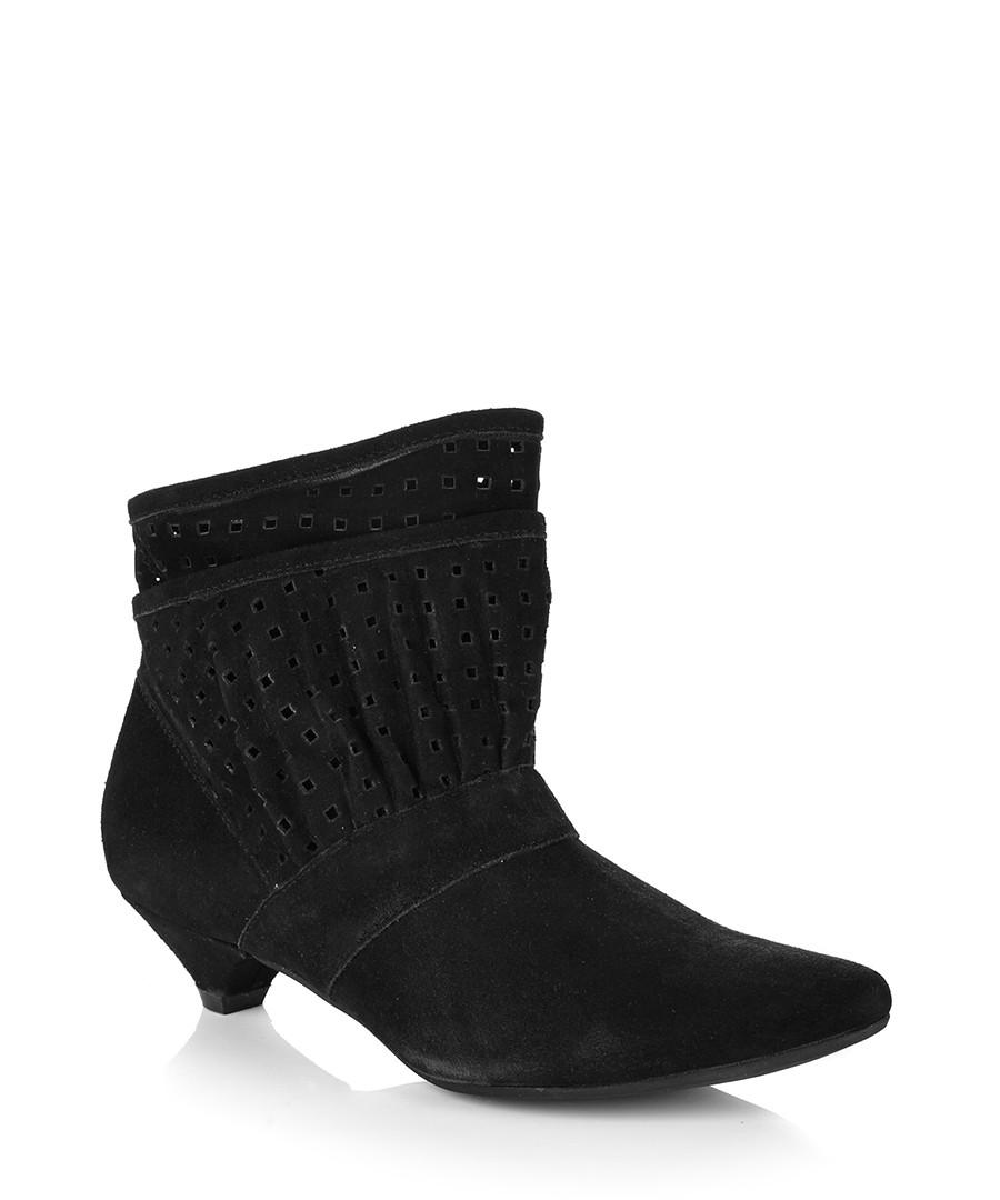 park black suede kitten heel ankle boots designer