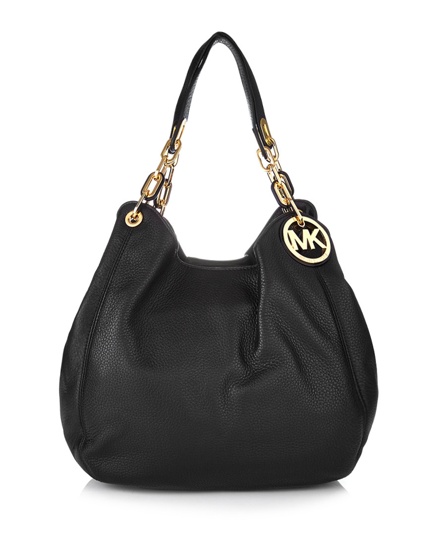 michael kors black leather slouchy shoulder bag designer. Black Bedroom Furniture Sets. Home Design Ideas