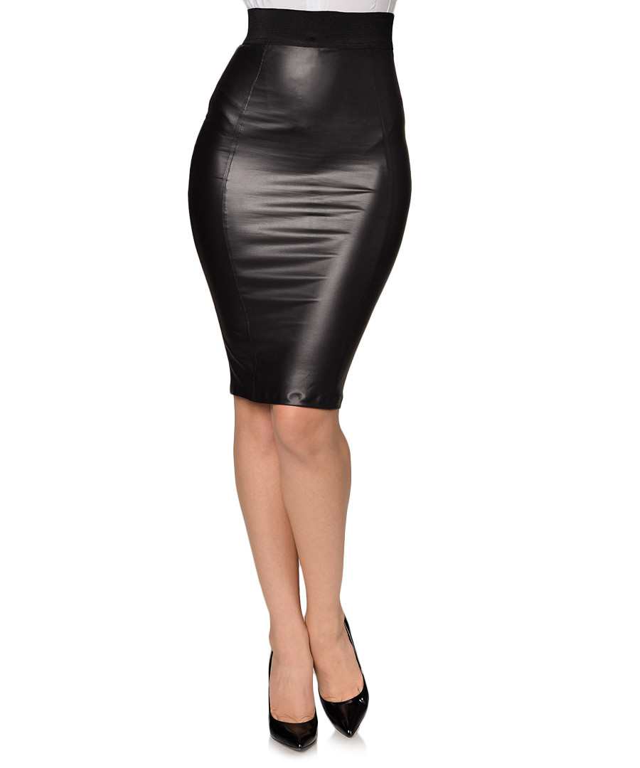 extasy black leather effect pencil skirt designer skirts