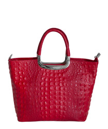 Denise red leather tote