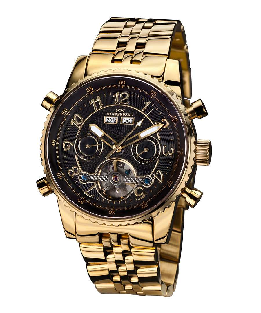 Hindenberg Air Professional gold-tone black watch ...