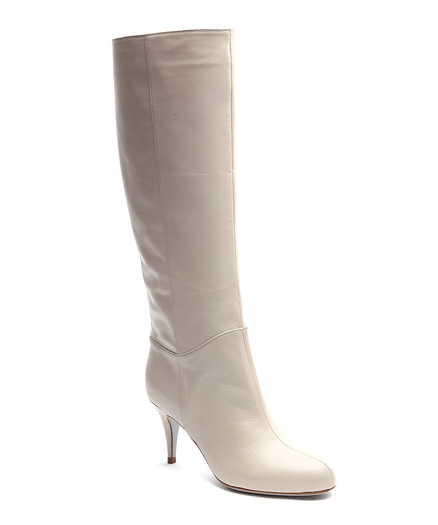 sergio leather knee high boots in light grey