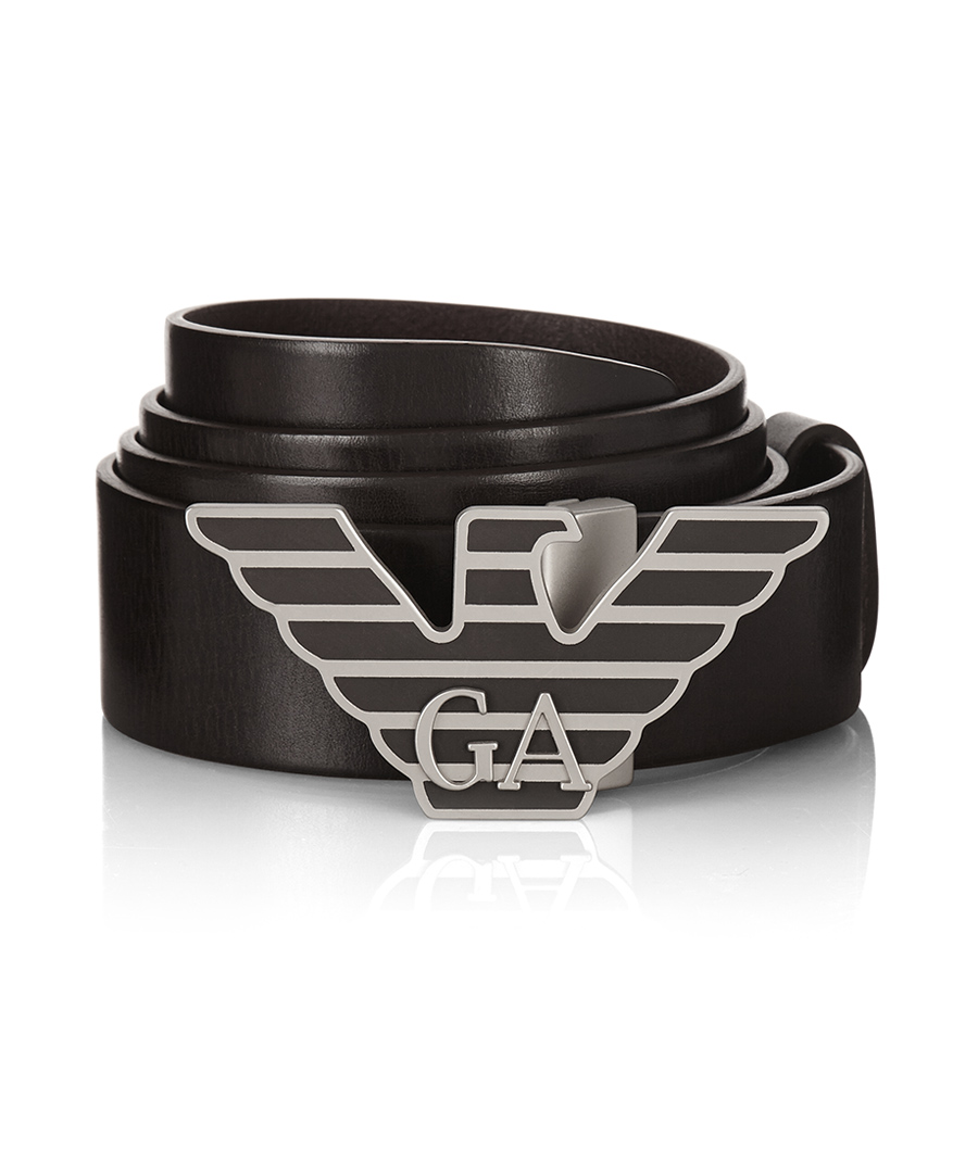 Emporio armani men 39 s leather logo belt designer for Designer accessoires