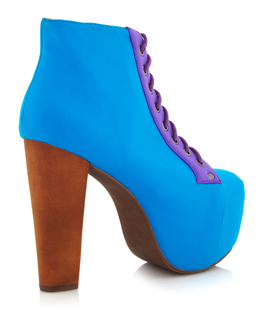 jeffrey campbell lita block blue ankle boots designer footwear sale jeffrey campbell secretsales. Black Bedroom Furniture Sets. Home Design Ideas