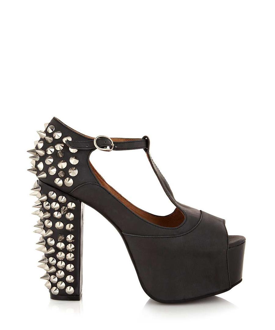 jeffrey campbell foxy spike black leather heels designer footwear sale outlet secretsales