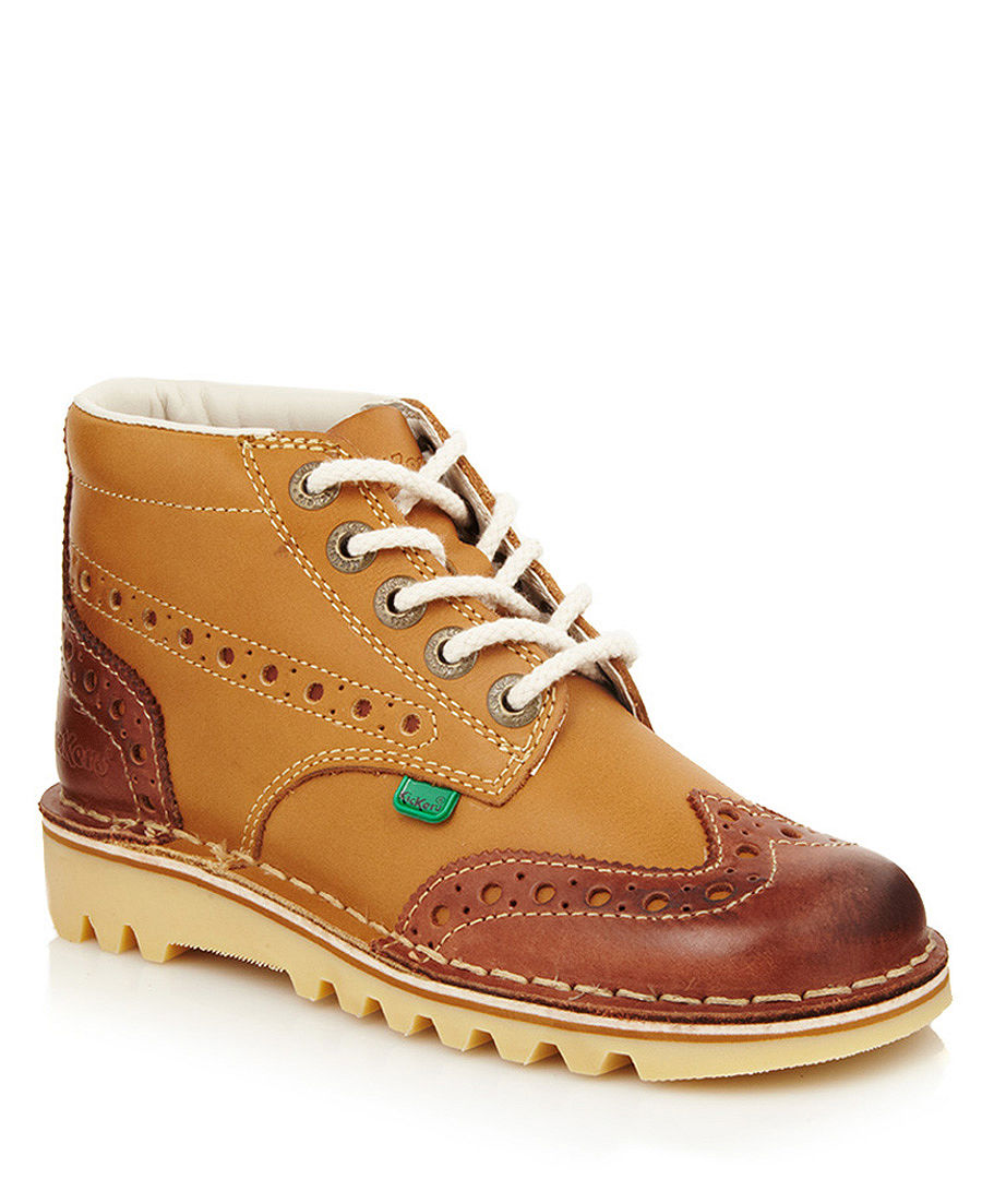 Kickers Brown Boots. £ Kickers Hi in Brown A mini version of the original Kick Hi Quality leather uppers Rubber outsole for durability and comfort Iconic Laced Kickers and triple stitching.