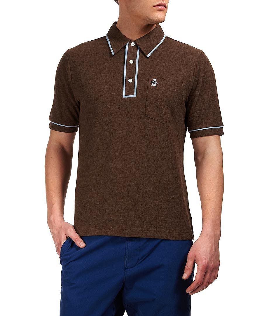 original penguin the earl light brown polo shirt designer