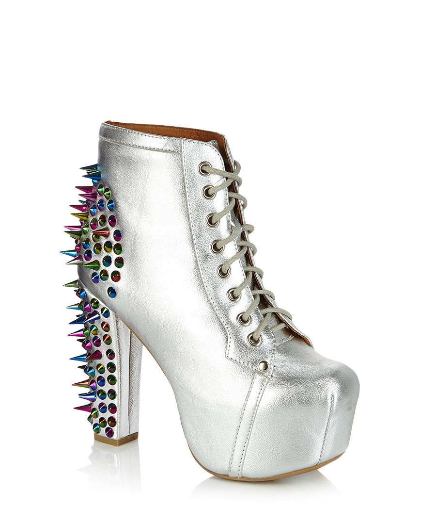 jeffrey campbell lita silver spike boots designer footwear sale outlet secretsales. Black Bedroom Furniture Sets. Home Design Ideas