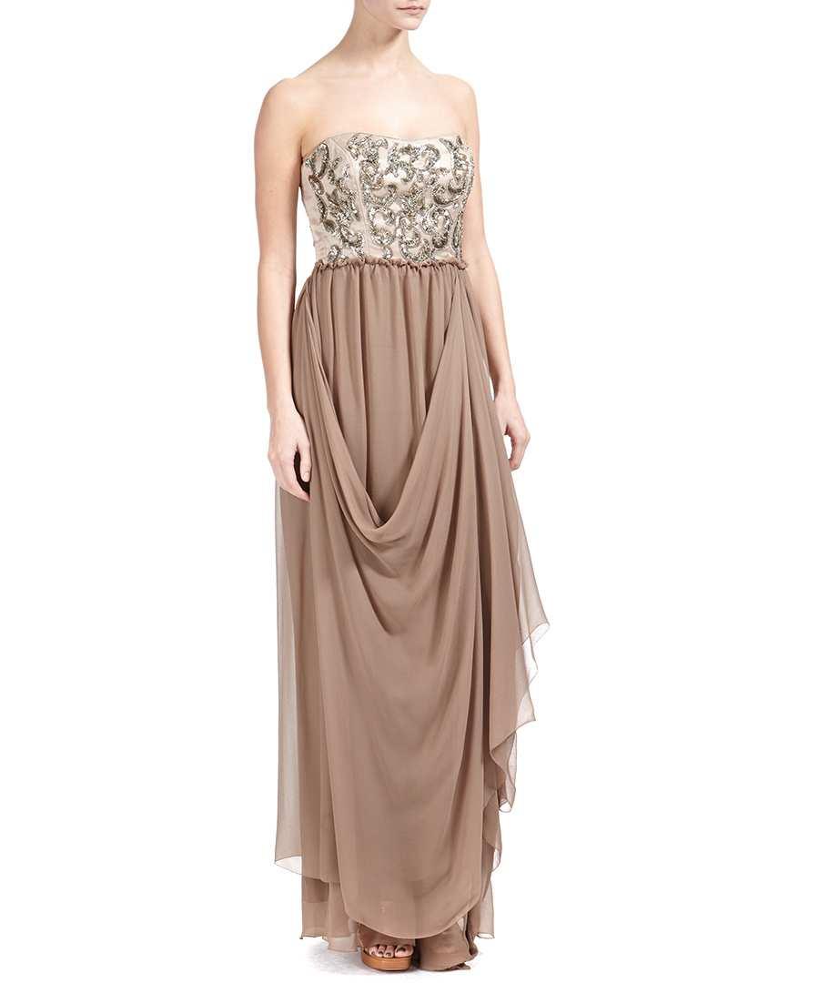 Nicole miller latte 100 silk evening dress designer dresses sale