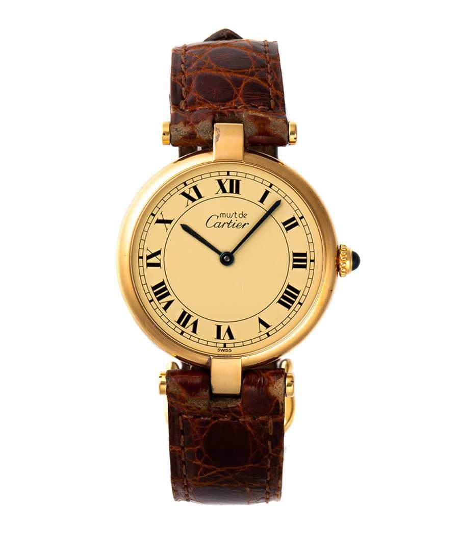 Cartier Gold Watch Mens Cartier Vermeil Men Gold