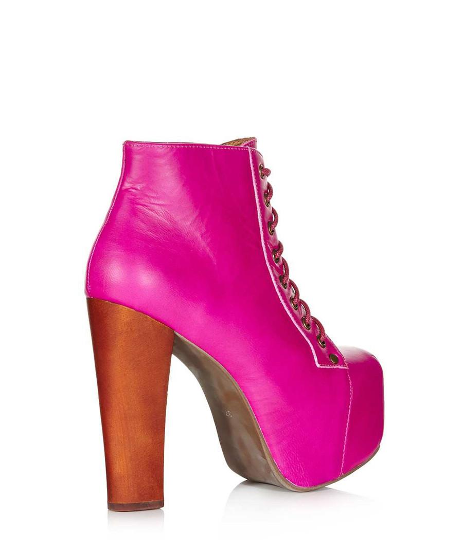 jeffrey campbell lita pink leather ankle boots designer footwear sale outlet secretsales. Black Bedroom Furniture Sets. Home Design Ideas