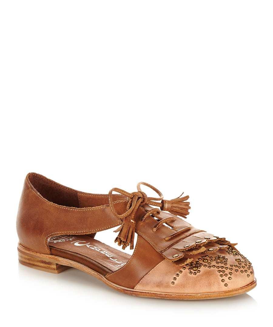 jeffrey campbell kelly brown leather flats designer footwear sale jeffrey campbell secretsales. Black Bedroom Furniture Sets. Home Design Ideas