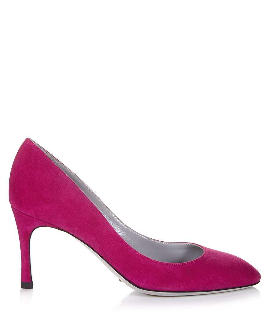 Sergio Rossi Fuschia Suede Court Shoes , Designer Footwear
