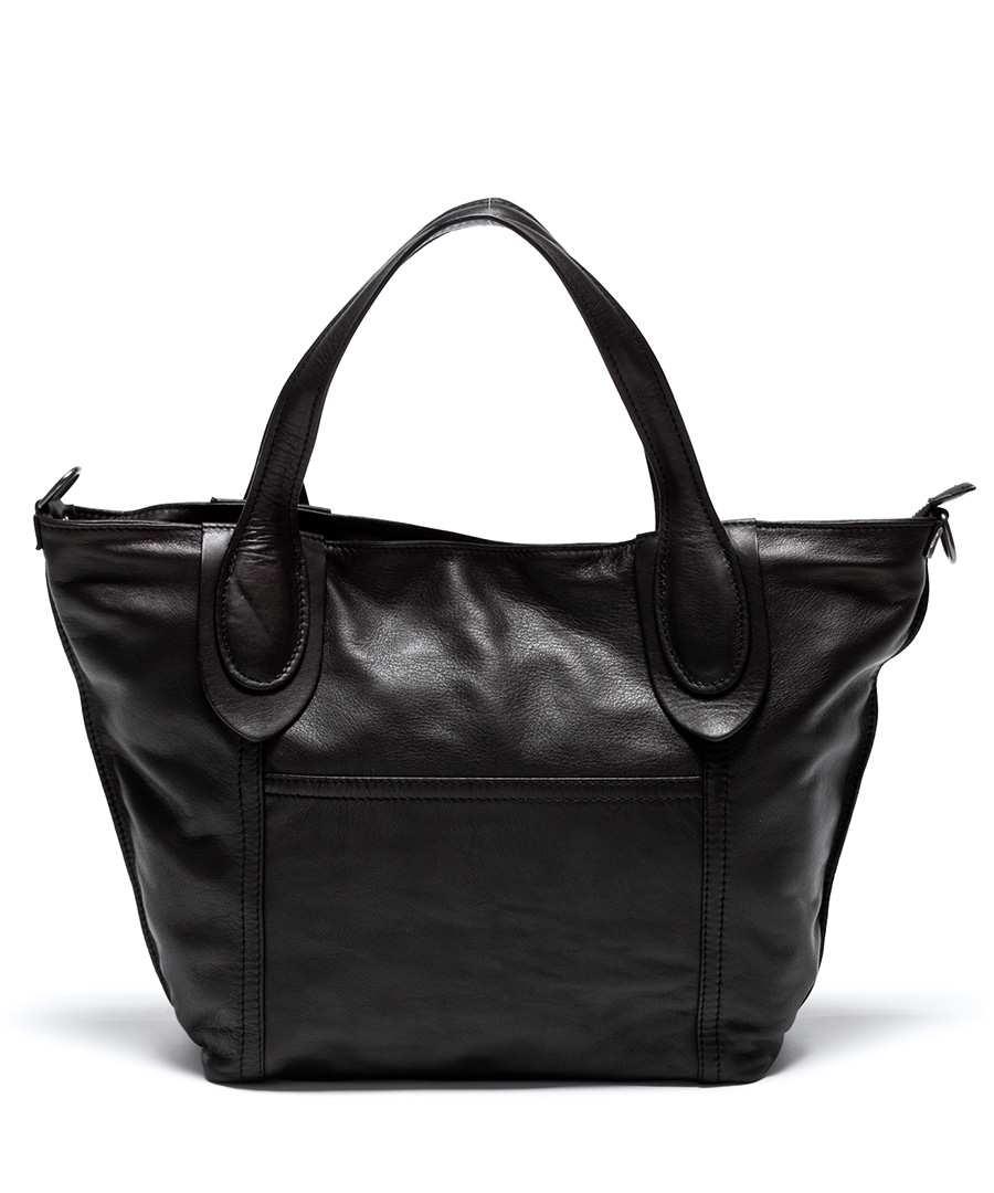 Black leather wide shoulder bag Sale - Renata Corsi