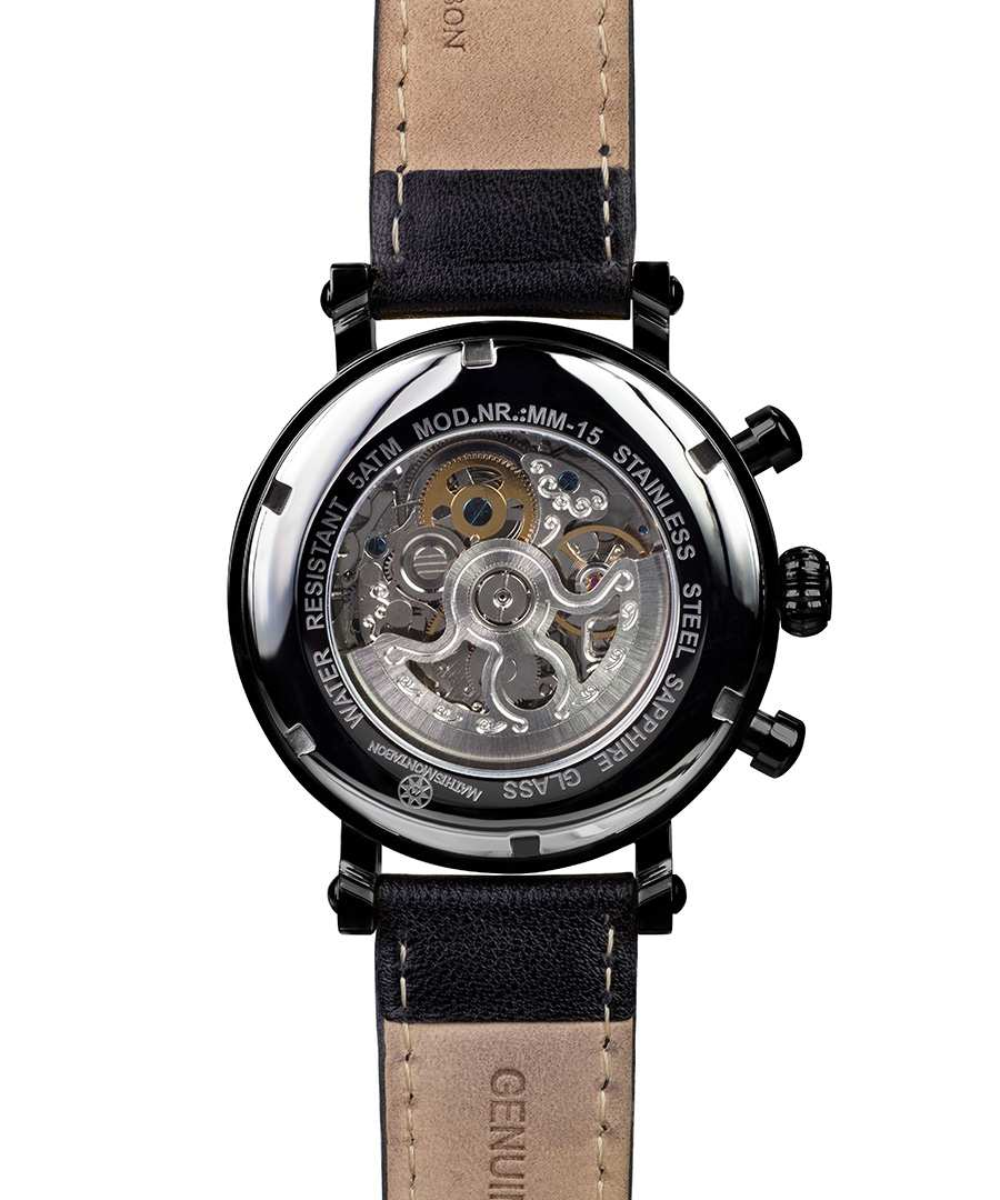 Mathis Montabon Skeleton black dial leather watch ...