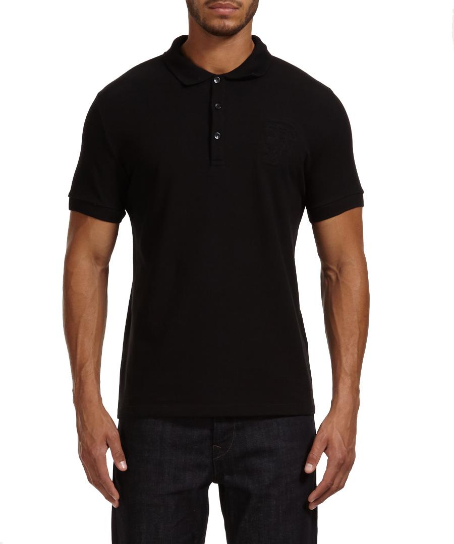 Versace collection black plain cotton polo shirt designer for Black cotton polo shirt