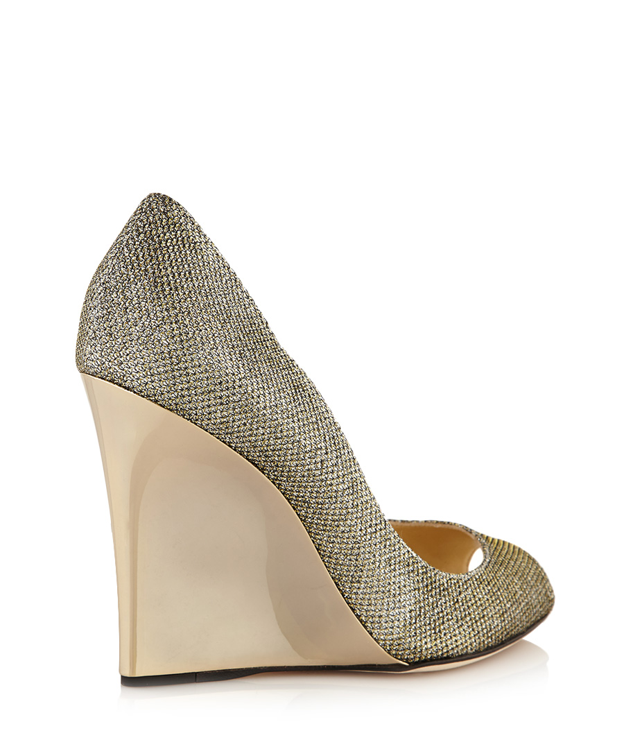 Jimmy Choo Bello light bronze wedges, Designer Footwear ...