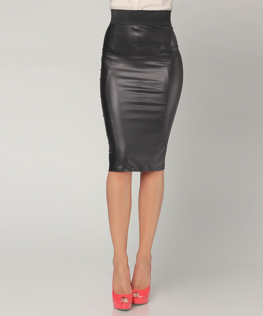 Black Leather Pencil Skirt 93
