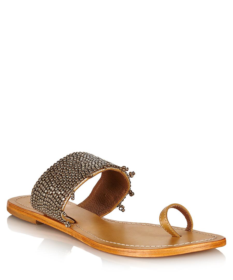 Luna silver leather sandals Sale - Aspiga