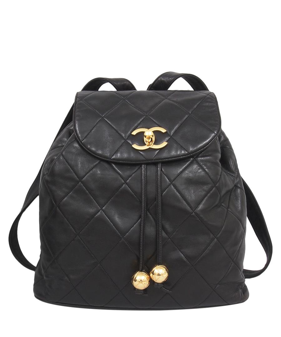 Black leather backpack Sale - Chanel