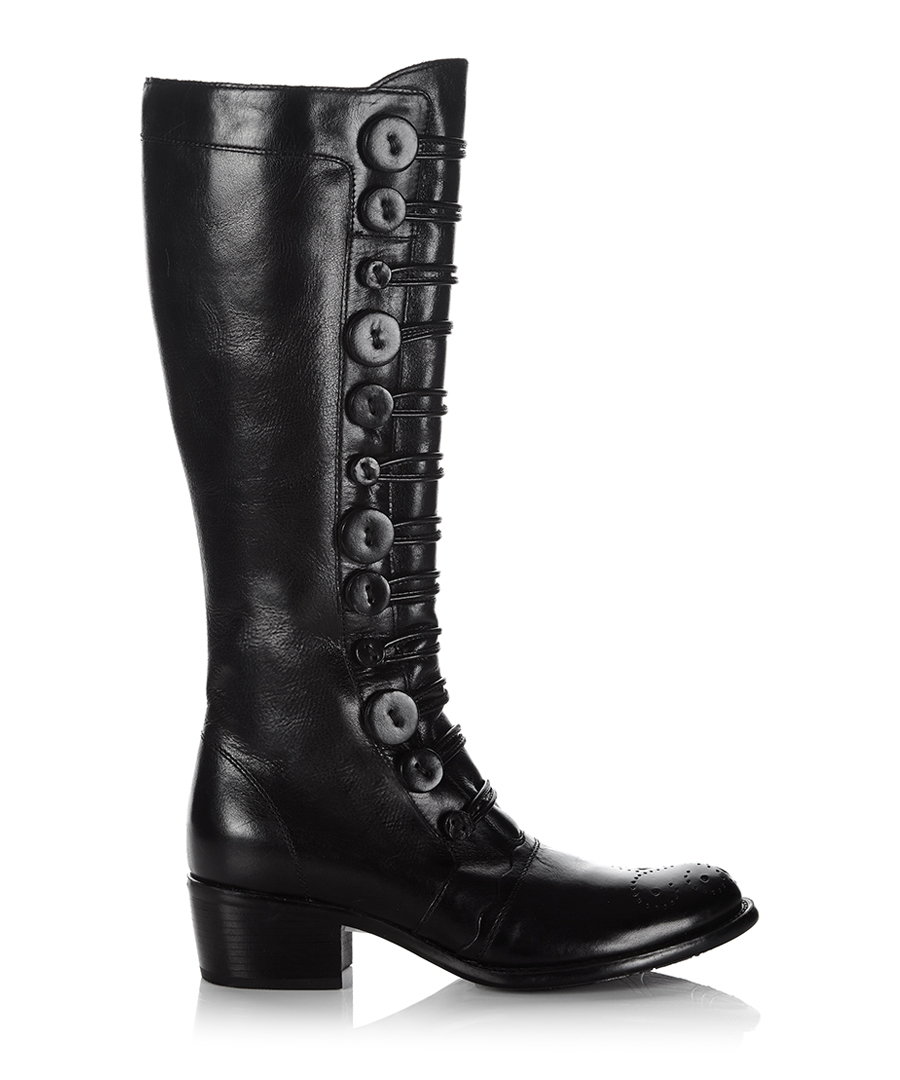 dune tyes black leather boots designer footwear