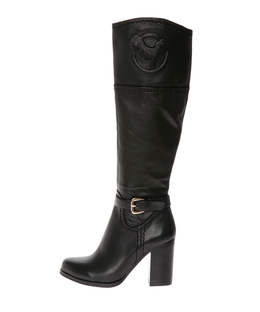 stylemax black leather stacked heel boots designer