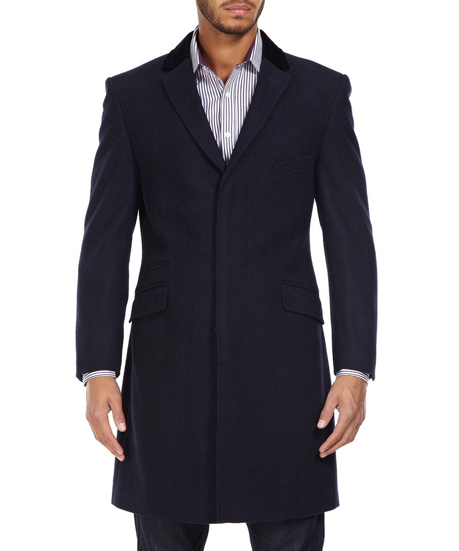 ben sherman navy herringbone crombie coat designer jackets sale new season coats secretsales. Black Bedroom Furniture Sets. Home Design Ideas