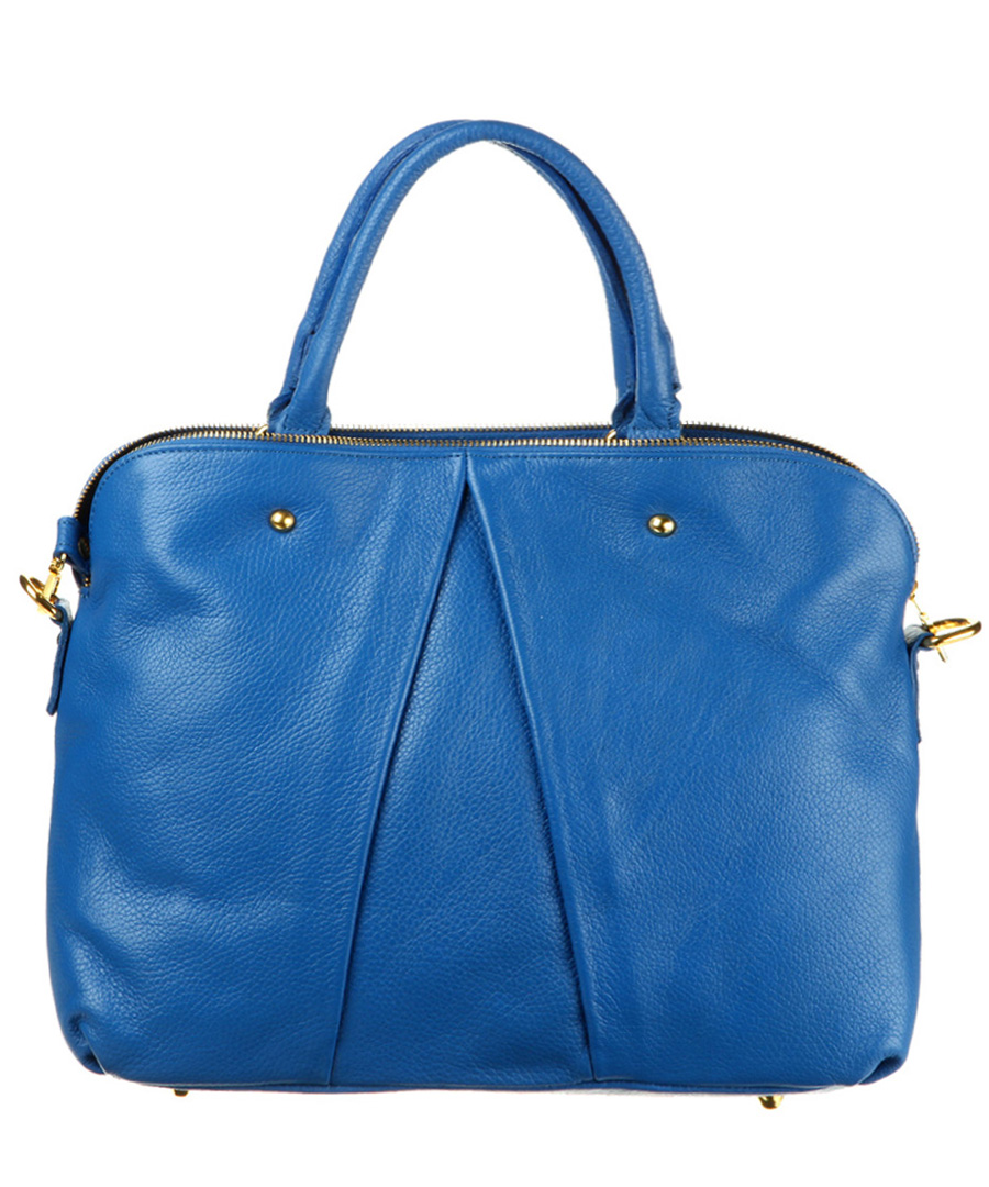 Home Italian Leather Handbags Royal blue leather grab bag