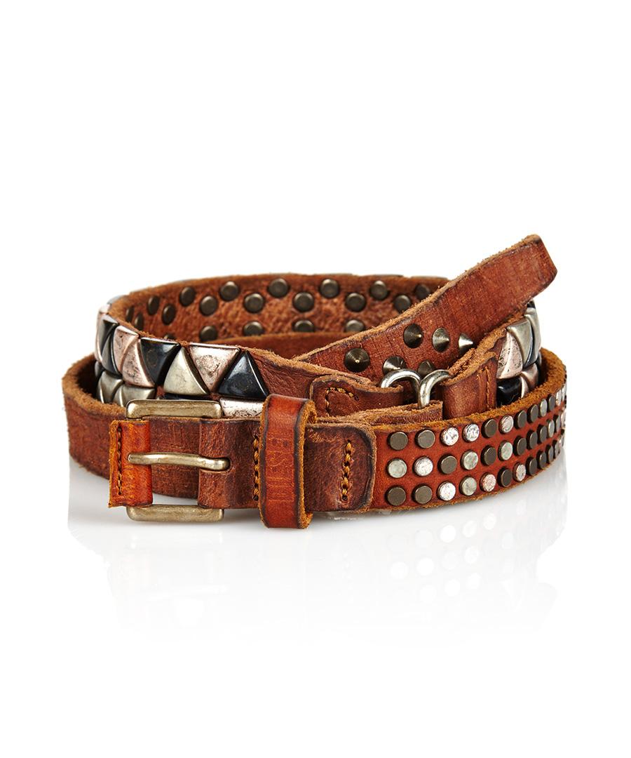 diesel service brown leather studded belt designer