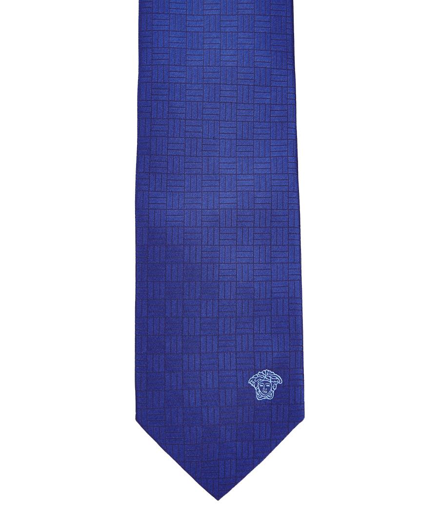 versace navy woven grid silk tie designer accessories