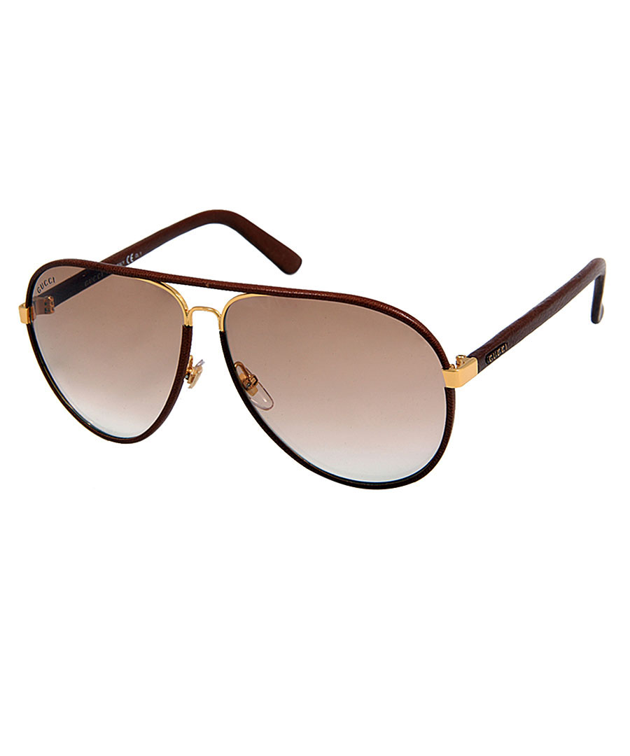 Gucci Sunglasses Leather Frame Aviator : Gucci Brown leather aviator sunglasses, Designer ...