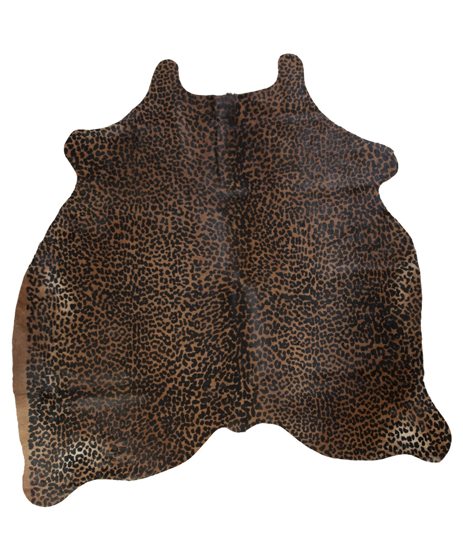 The real rug company 175cm x 162cm leopard print cowhide for Designer cowhide rugs