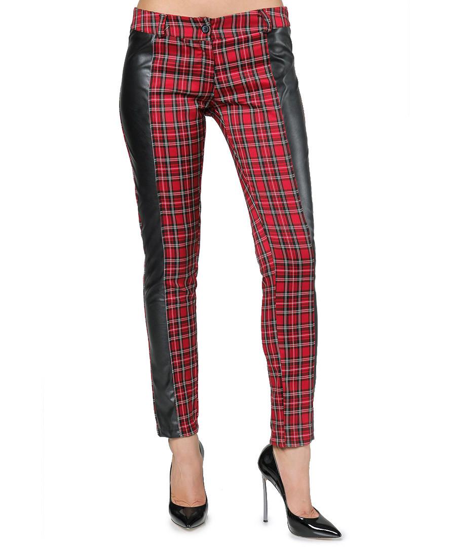 Red faux leather panel tartan trousers Sale - Carla Giannini