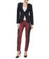 Red faux leather panel tartan trousers Sale - Carla Giannini Sale