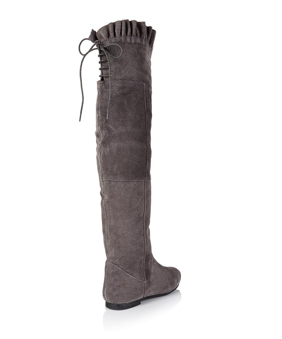 park grey suede knee frill boots designer