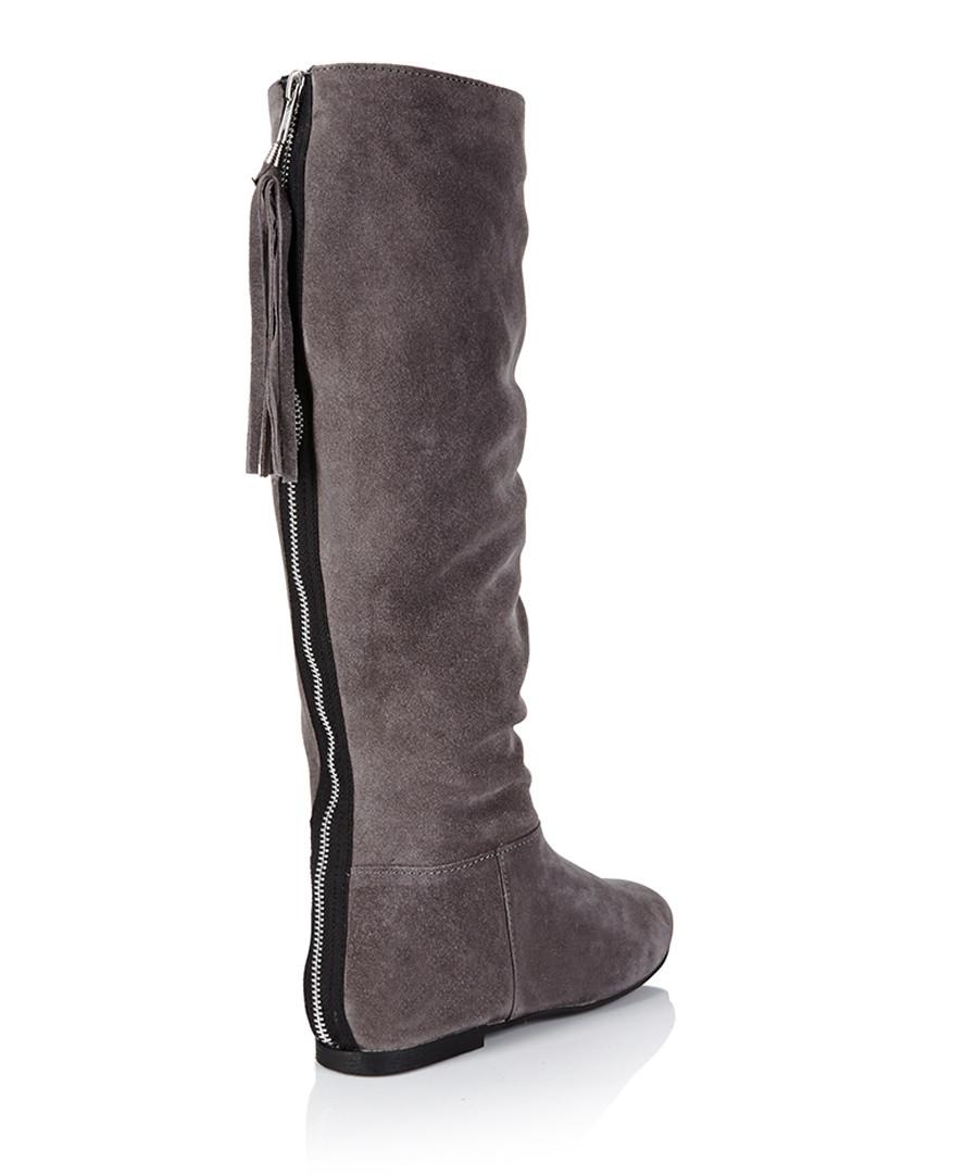 park grey suede knee high boots designer footwear