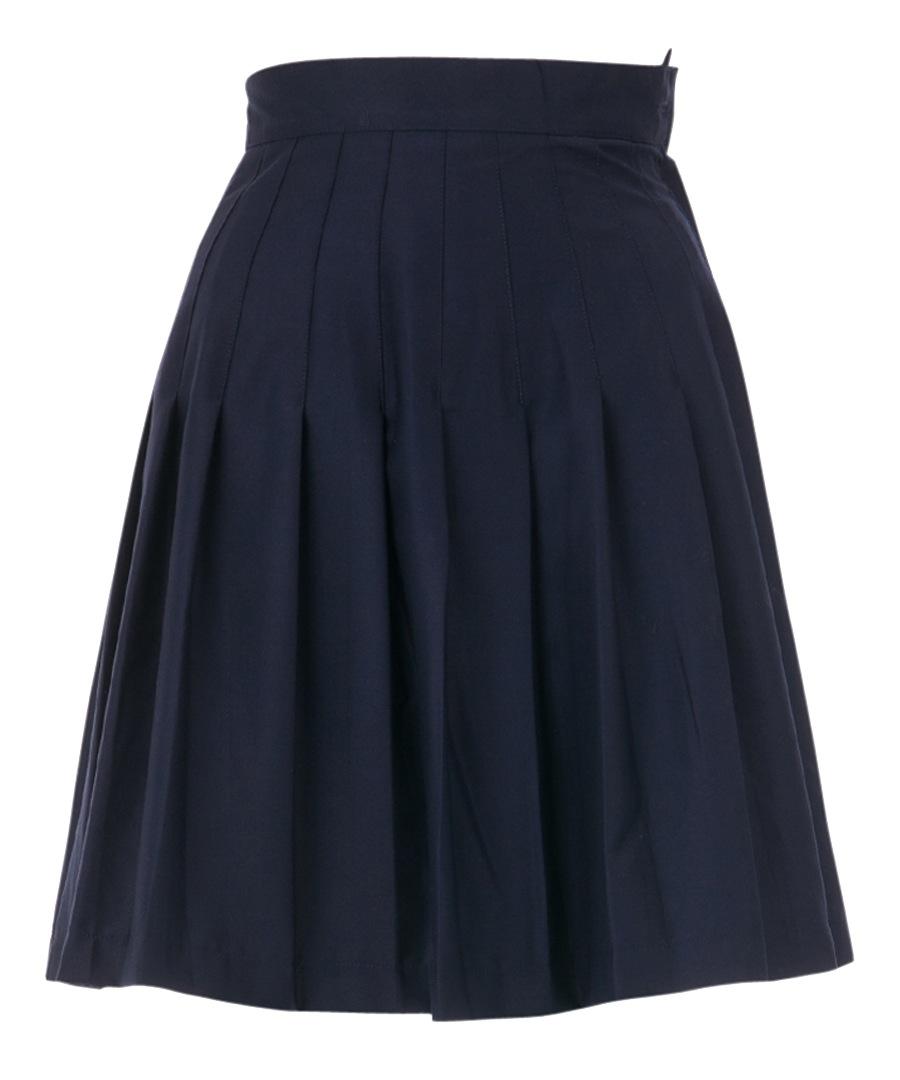 louche rima navy pleated knee length skirt designer