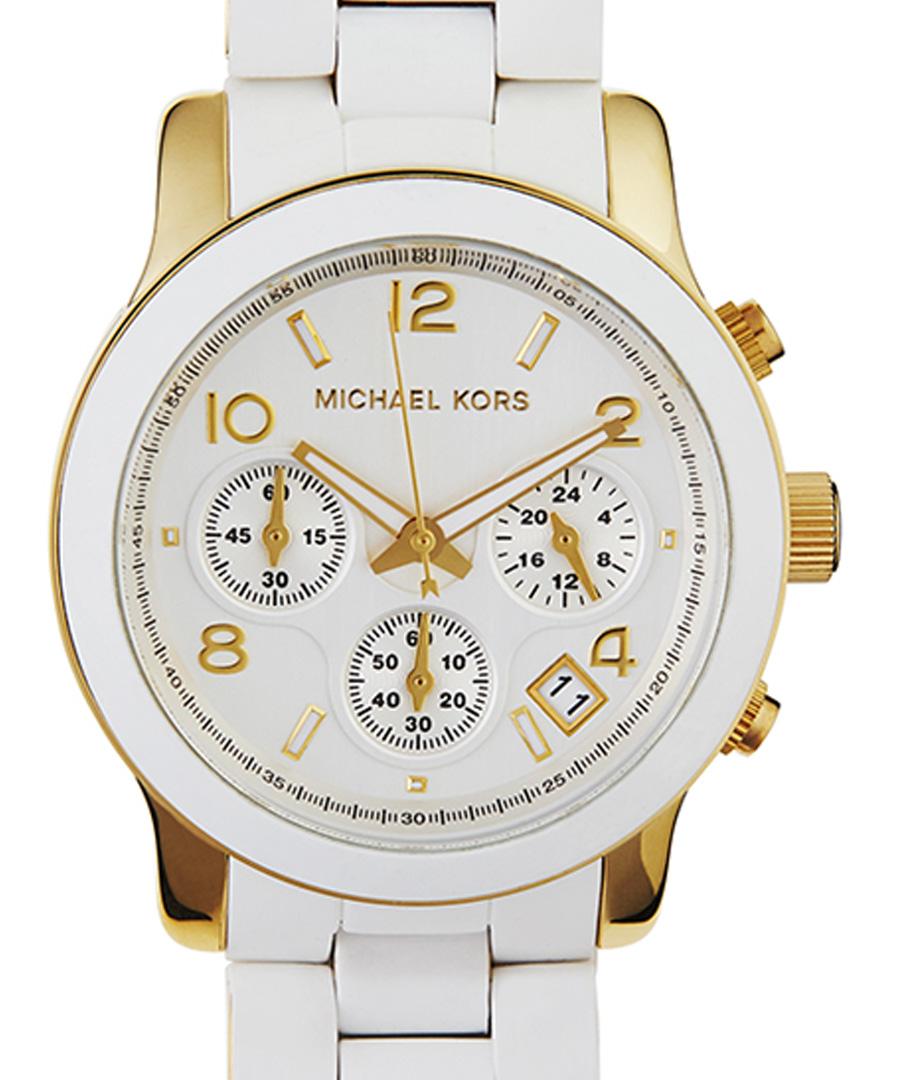 michael kors goldplated white strap quartz watch