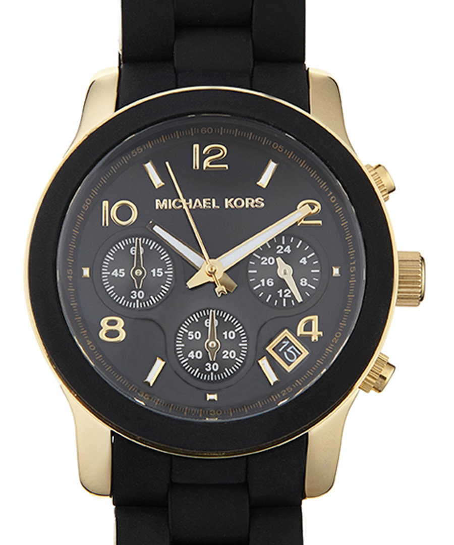 michael kors gold plated and black silicone