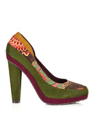Melbourne green & multi heels