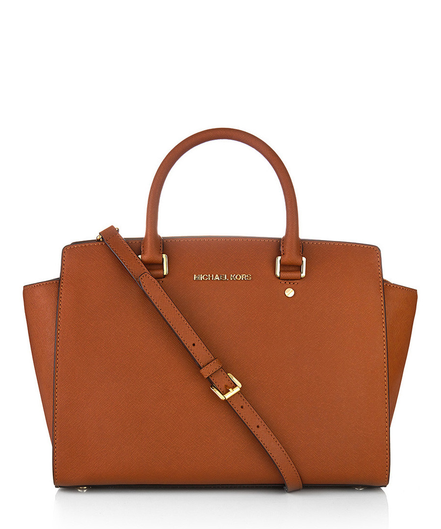 michael kors selma tan leather boxy satchel designer bags sale michael kors bags secretsales. Black Bedroom Furniture Sets. Home Design Ideas