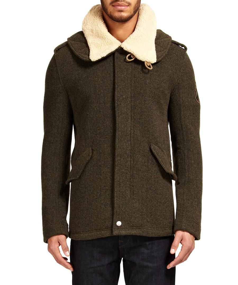 love moschino green wool blend coat designer jackets sale love moschino secretsales. Black Bedroom Furniture Sets. Home Design Ideas
