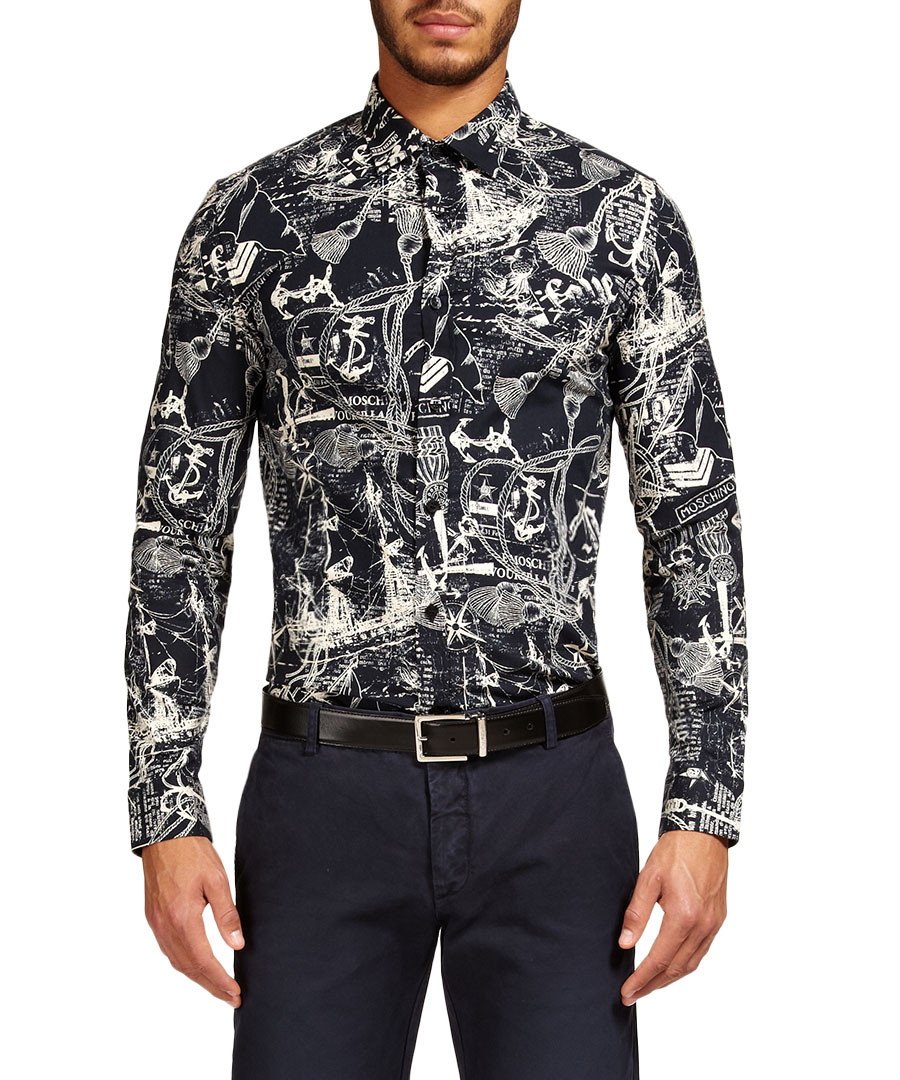love moschino ink blue all over printed shirt designer topwear sale love moschino secretsales