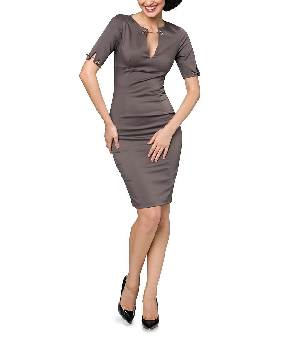Brown Pencil Dress Chain Detail Pencil Dress